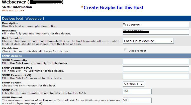 SNMP not in use error in Cacti