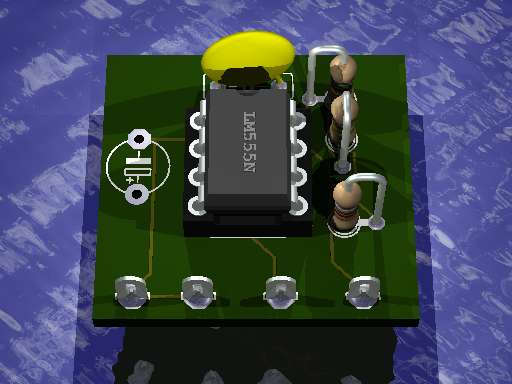 3d image of a PCB obtained using Eagle3D and POV-Ray