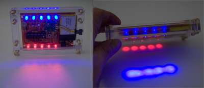 Blinking LED's + cellphone vibrator = funbox