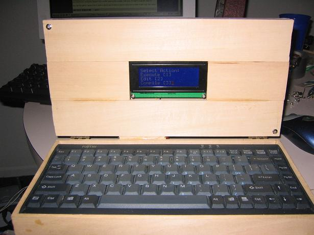 DIY laptop in wooden box