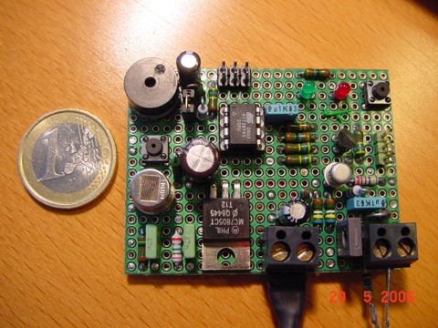 Gas detector circuit - the assembled PCB