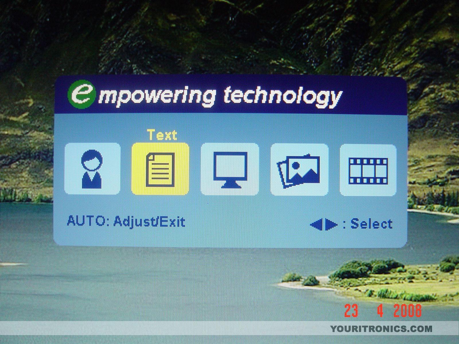 Acer P223w e button> the empowering menu