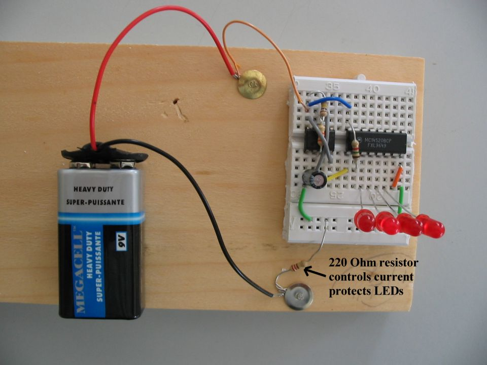 IC 4520 Binary Counter on a small breadboard