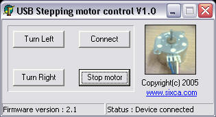 Stepping Motor Controlled Over USB Interface