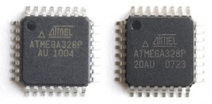atmega328 fake on the right